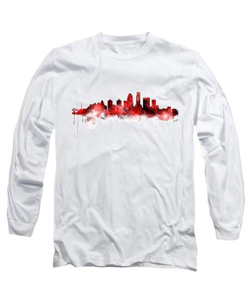 Louisville Kentucky City Skyline Long Sleeve T-Shirt by Michael Tompsett