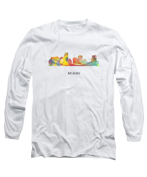 Miami Florida Skyline Long Sleeve T-Shirt by Marlene Watson