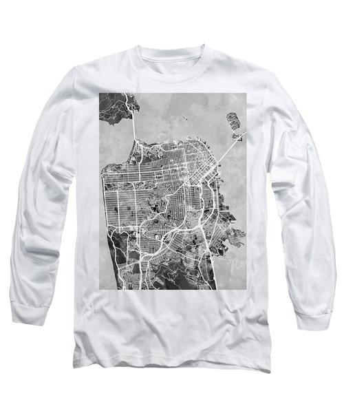 San Francisco City Street Map Long Sleeve T-Shirt by Michael Tompsett