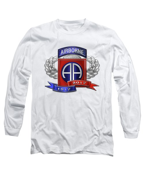 82nd Airborne Division 100th Anniversary Insignia Over White Leather Long Sleeve T-Shirt