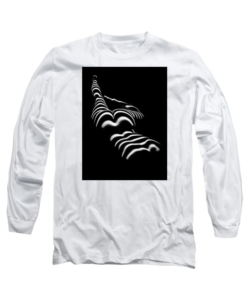 8897-slg Zebra Woman Legs Up Black And White Photograph By Chris Maher Long Sleeve T-Shirt by Chris Maher