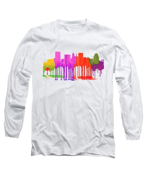 Baltimore Maryland Skyline Long Sleeve T-Shirt