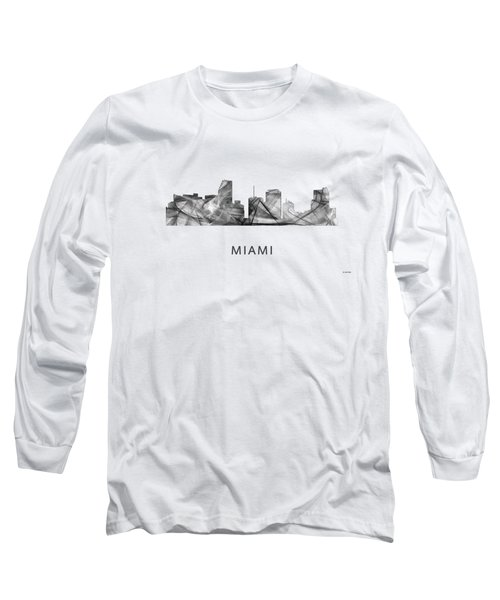 Miami Florida Skyline Long Sleeve T-Shirt by Marlene Watson
