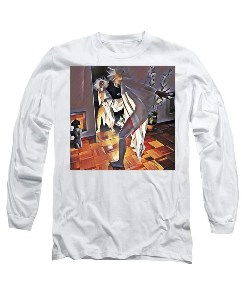 9926s-dm Watercolor Woman In White Confronts Herself In Mirror Long Sleeve T-Shirt
