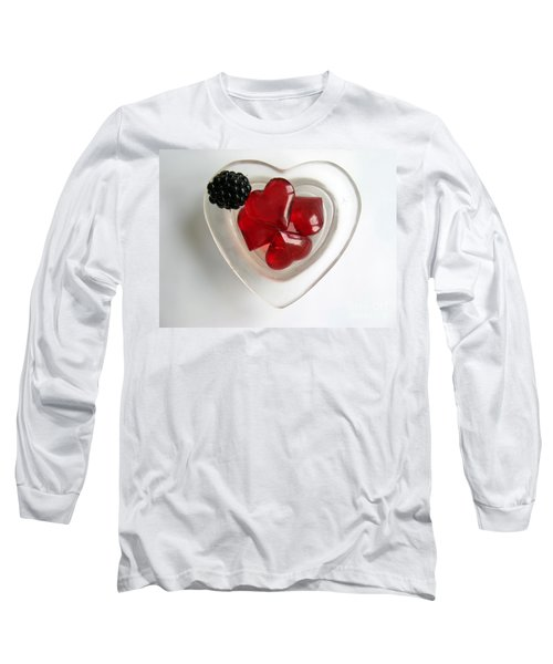 Long Sleeve T-Shirt featuring the photograph A Bowl Of Hearts And A Blackberry by Ausra Huntington nee Paulauskaite
