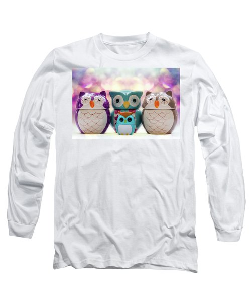 A Colourful Parliament Of Owls Long Sleeve T-Shirt by Martina Fagan