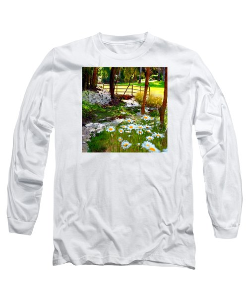 A Country Stream With Wild Daisies Long Sleeve T-Shirt