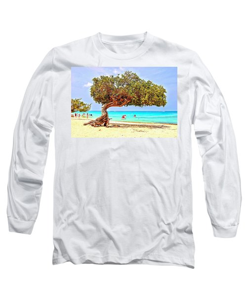 Long Sleeve T-Shirt featuring the photograph A Day At Eagle Beach by DJ Florek