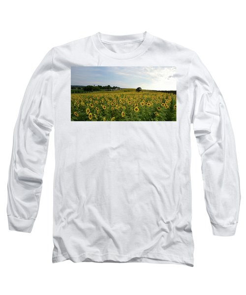 Long Sleeve T-Shirt featuring the photograph A Field Of Sunflowers by Janice Adomeit