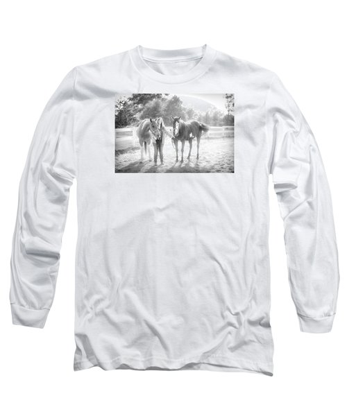 Long Sleeve T-Shirt featuring the photograph A Girl With Horses by Kelly Hazel