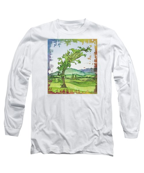 A Kale Leaf Visits The Country Long Sleeve T-Shirt by Carolyn Doe