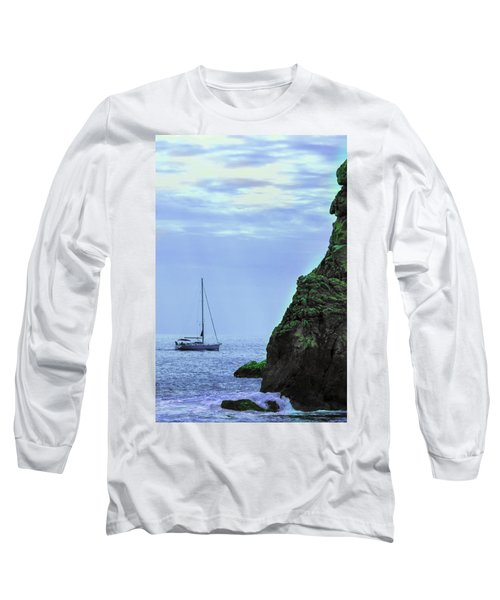 A Lone Sailboat Floats On A Calm Sea Long Sleeve T-Shirt