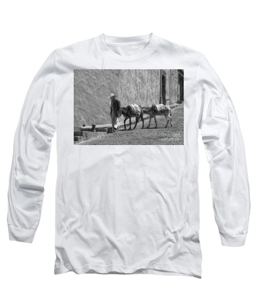 A Man With Two Burros Long Sleeve T-Shirt