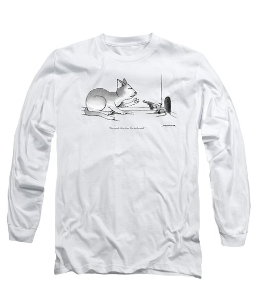A Mouse Is In Front Of A Mouse Hole Pointing Long Sleeve T-Shirt
