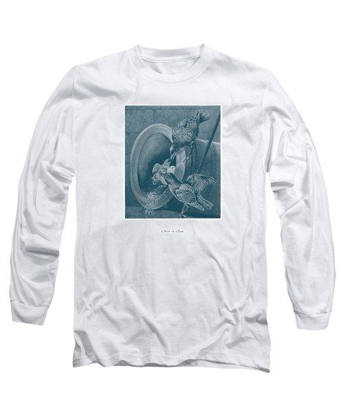 A Nest In A Gun Long Sleeve T-Shirt by David Davies