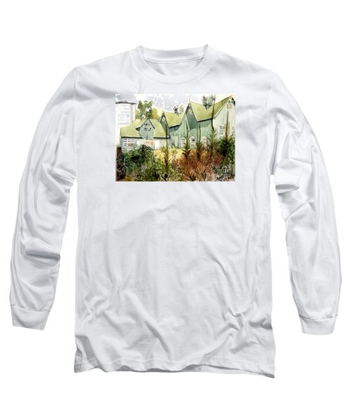 An Old Wooden Barn Painted Green With Silo In The Sun Long Sleeve T-Shirt by Greta Corens