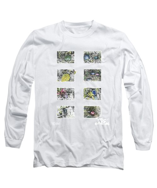 Long Sleeve T-Shirt featuring the drawing A Potters Garden by Kerryn Madsen-Pietsch