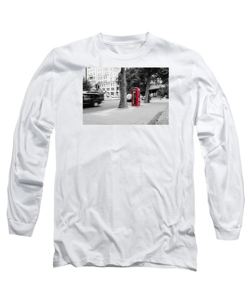 A Single Red Telephone Box On The Street Bw Long Sleeve T-Shirt