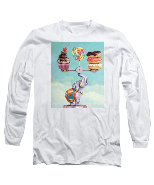 Long Sleeve T-Shirt featuring the painting A Well-balanced Diet by Linda Apple
