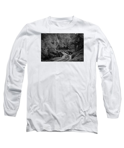 Long Sleeve T-Shirt featuring the photograph A Wet And Twisty Road Through The Blue Ridge Mountains In Black And White by Kelly Hazel