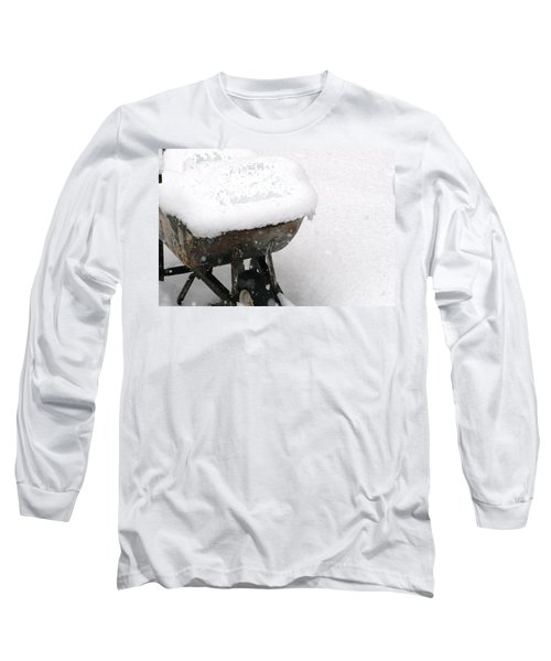 Long Sleeve T-Shirt featuring the photograph A Wheel Barrel Of Snow by Paul SEQUENCE Ferguson             sequence dot net