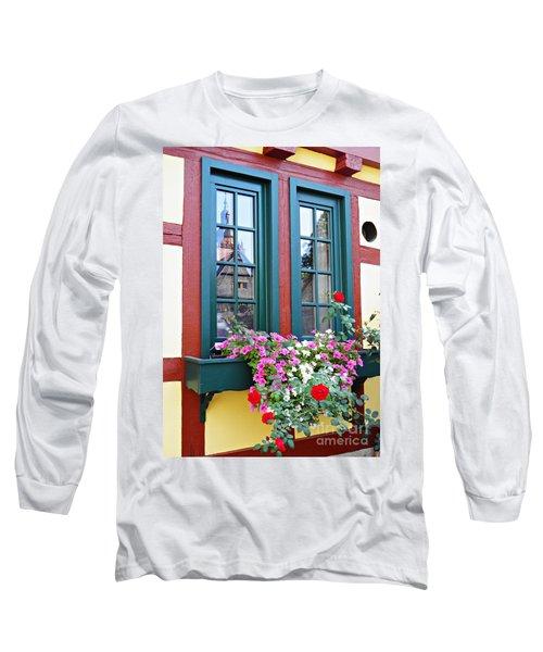 A Window In Eltville  2 Long Sleeve T-Shirt by Sarah Loft