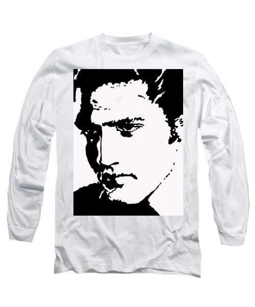 Long Sleeve T-Shirt featuring the drawing A Young Elvis by Robert Margetts