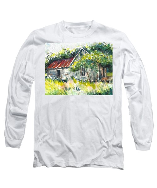 Abandoned Farmhouse In The Ozark Mountains On The Gravel Road To Hawk's Bill Crag At Whitaker Point Long Sleeve T-Shirt
