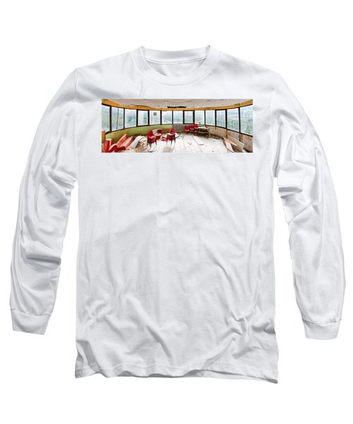 Long Sleeve T-Shirt featuring the photograph Abandoned Tower Restaurant - Urban Panorama by Dirk Ercken