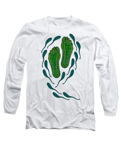 Aboriginal Footprints Green Transparent Background Long Sleeve T-Shirt by Barbara St Jean