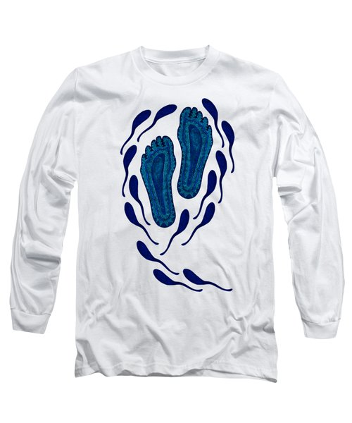Aboriginal Footprints In Blue Transparent Background Long Sleeve T-Shirt