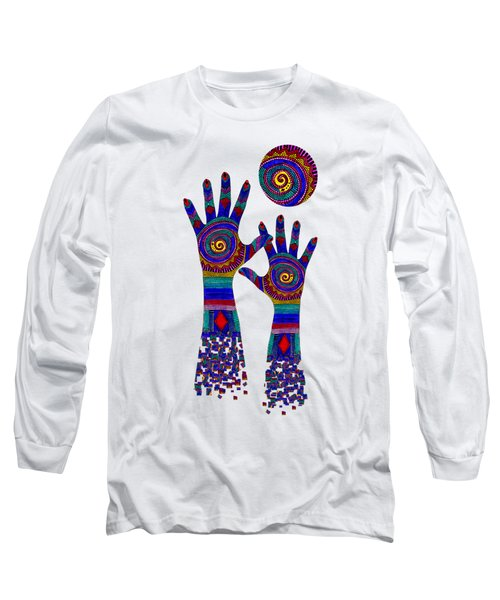 Aboriginal Hands Blue Transparent Background Long Sleeve T-Shirt by Barbara St Jean