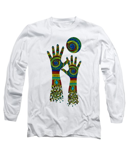 Aboriginal Hands Gold Transparent Background Long Sleeve T-Shirt by Barbara St Jean
