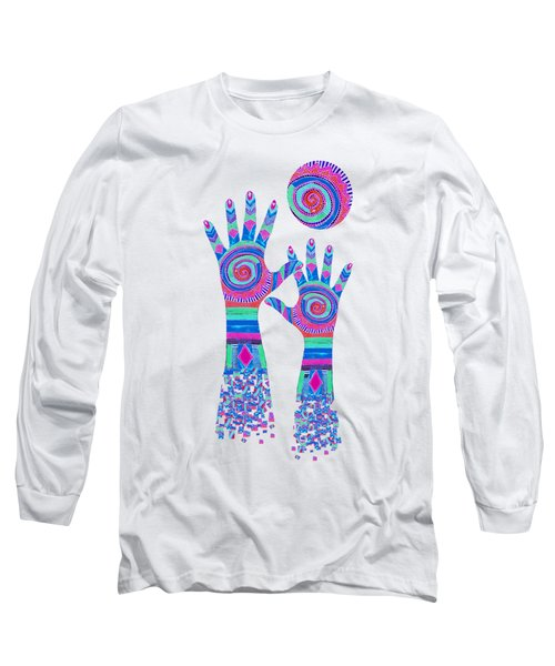Aboriginal Hands Pastel Transparent Background Long Sleeve T-Shirt by Barbara St Jean