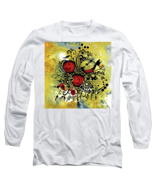Abstract Acrylic Painting Apples II Long Sleeve T-Shirt by Saribelle Rodriguez
