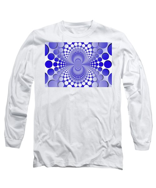 Abstract Blue And White Pattern Long Sleeve T-Shirt