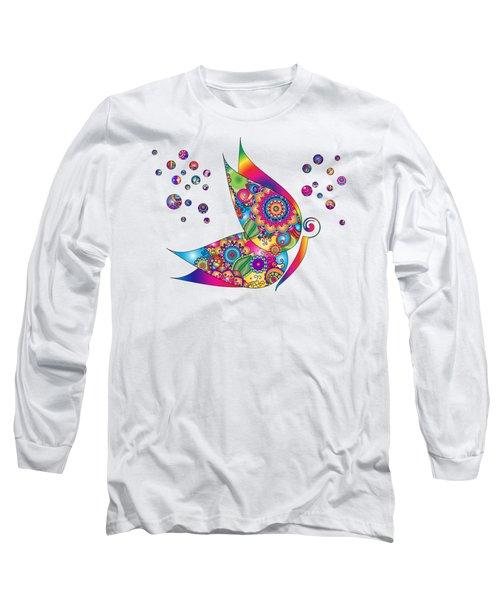 Abstract Colorful Butterfly Long Sleeve T-Shirt by Serena King