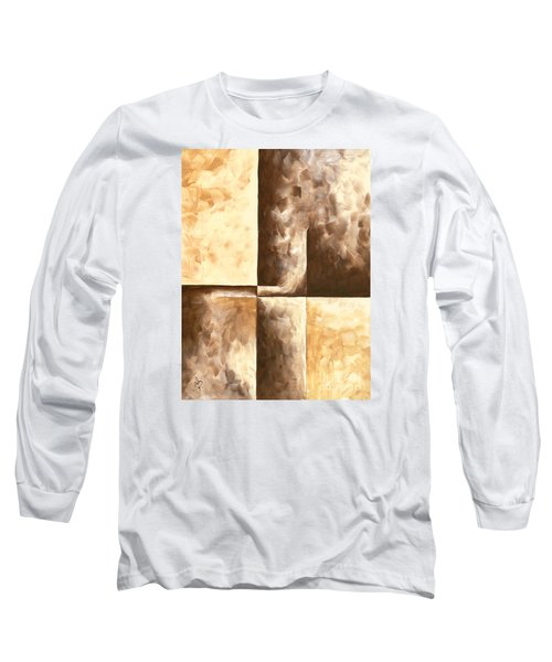 Abstract Contemporary Art Original Minimalist Painting In Brown And Yellow Burnished IIi By Madart Long Sleeve T-Shirt