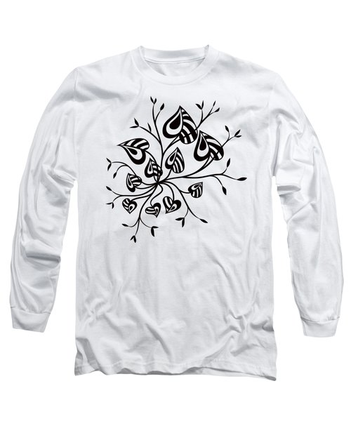 Abstract Floral With Pointy Leaves In Black And White Long Sleeve T-Shirt