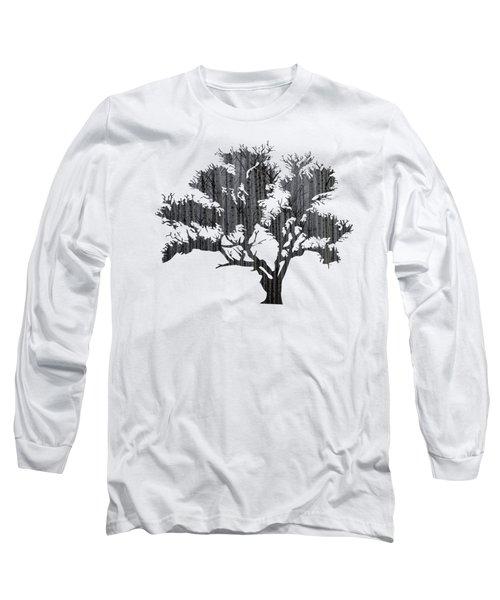 Abstract Gray Tree Long Sleeve T-Shirt