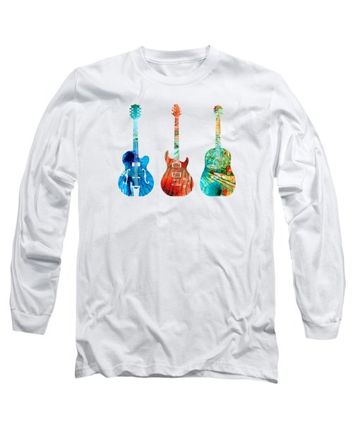 Abstract Guitars By Sharon Cummings Long Sleeve T-Shirt by Sharon Cummings