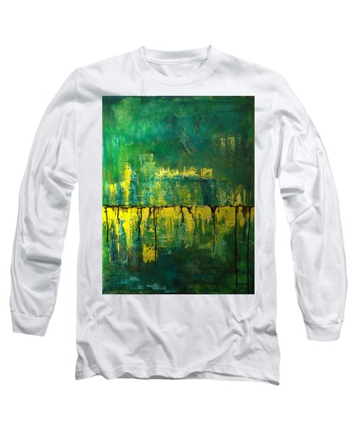 Abstract In Yellow And Green Long Sleeve T-Shirt by Jocelyn Friis