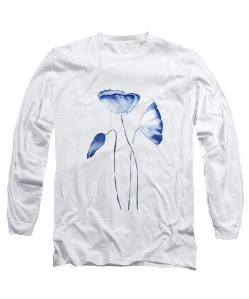 Abstract Indigo Poppy Long Sleeve T-Shirt