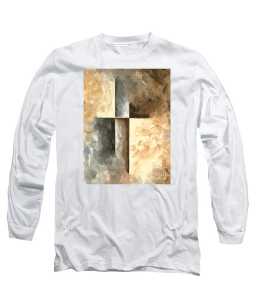 Abstract Pop Art Style Brown Gray Minimalist Painting Burnished II By Madart Long Sleeve T-Shirt