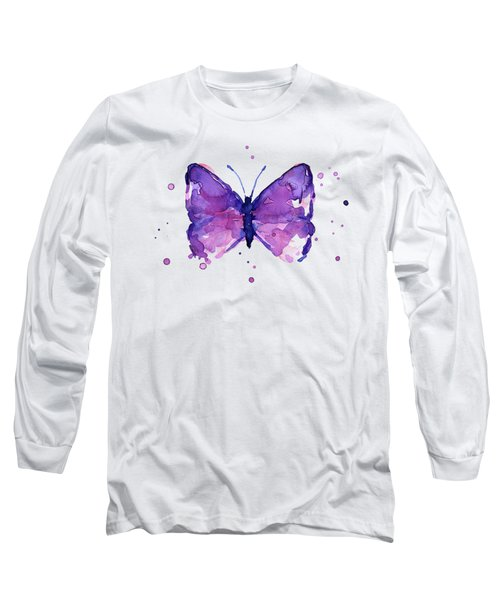 Abstract Purple Butterfly Watercolor Long Sleeve T-Shirt