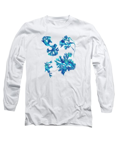 Long Sleeve T-Shirt featuring the mixed media Abstract Seaweed Art Rhodomenia Laciniata by Christina Rollo
