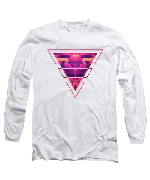 Abstract Symertric Geometric Triangle Texture Pattern Design In Diabolic Magnet Future Red Long Sleeve T-Shirt