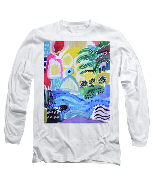 Abstract Tropical Landscape Long Sleeve T-Shirt by Amara Dacer