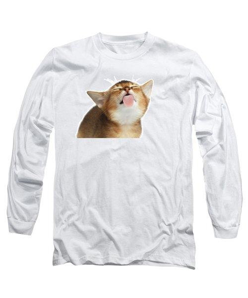 Abyssinian Kitten Licking Screen  Long Sleeve T-Shirt