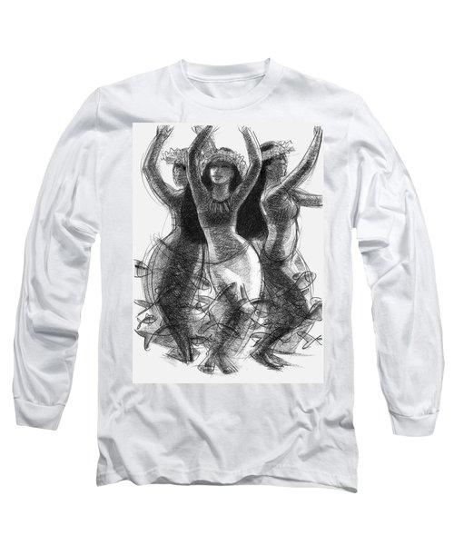 Action Song Dancers With Fish Pareu Long Sleeve T-Shirt